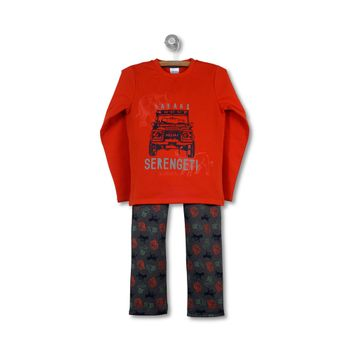 Pijama-Polycotton-Kid-Boy-Orange