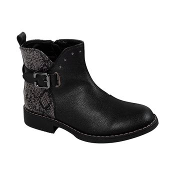 Bootie-Snake-Skin-Buckle-Girl-Black