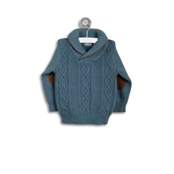Sweater-Trenzado-Con-Cuello-Verde-Esmeralda-Niño